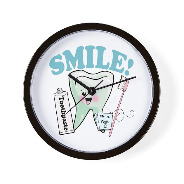 Dentist Dental Hygienist Teeth Wall Clock By Atomiccotton