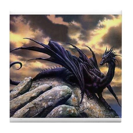 Black Dragons Tile Coaster