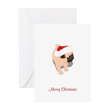Christmas Pug Puppy Greeting Card
