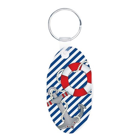 Nautical Chic Aluminum Oval Keychain