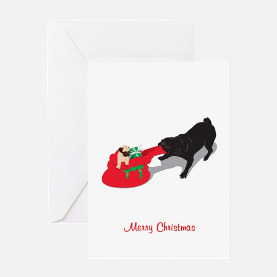 Pug Pulling Present Bag Greeting Card