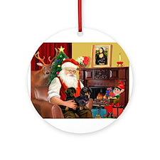 Santa's 2 Doxies (blk) Ornament (Round)