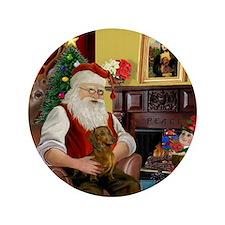 """Santa's Dachshund (b) 3.5"""" Button"""