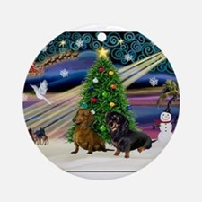 Xmas Magic & Doxie Pair Ornament (Round)
