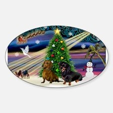 Xmas Magic & Doxie Pair Sticker (Oval)