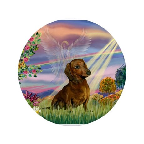 "Cloud Angel & Dachshund 3.5"" Button"