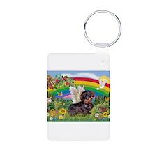 Rainbow / Dachshund (WireH) Keychains