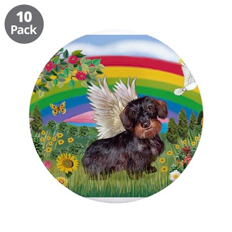 "Rainbow / Dachshund (WireH) 3.5"" Button (10 p"