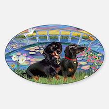 Sunrise Lilies / Two Dachshun Sticker (Oval)