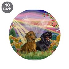 """Autumn Angel / Two Dachshunds 3.5"""" Button (10"""