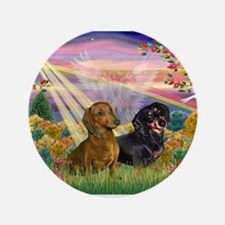 "Autumn Angel / Two Dachshunds 3.5"" Button"