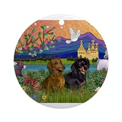Fantasy Land / Two Dachshunds Ornament (Round)