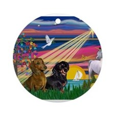Magical Night / Two Dachshund Ornament (Round)
