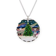 Xmas Magic & Dalmation Necklace Circle Charm