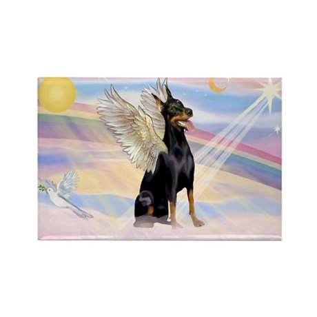 Dobie Angel in Clouds Rectangle Magnet (10 pack)