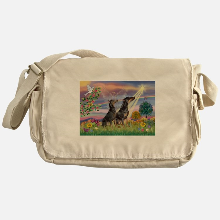 Cloud Angel & Dobie Pair Messenger Bag
