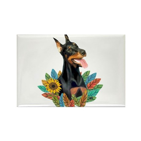 Leaves 2 - Doberman 1 Rectangle Magnet (10 pack)