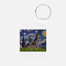 Starry Night & Dobie Pair Keychains