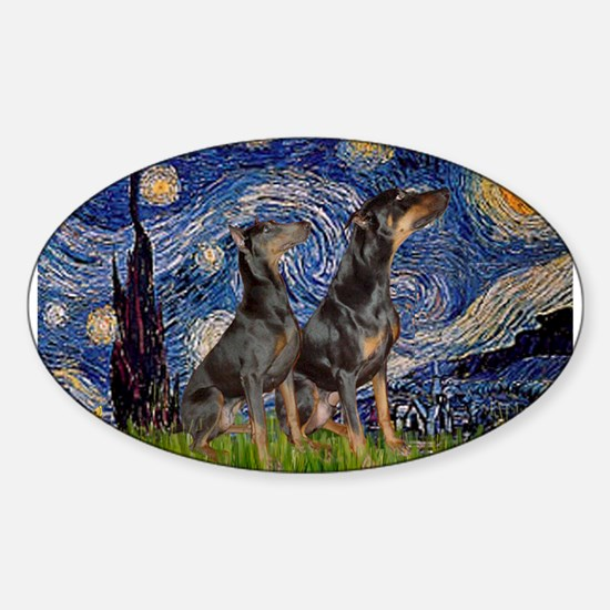 Starry Night & Dobie Pair Sticker (Oval)