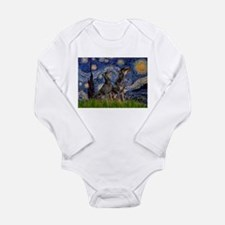 Starry Night & Dobie Pair Long Sleeve Infant Bodys