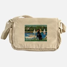 Sailboats & Dobie Messenger Bag
