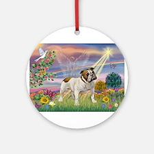 Cloud Angel & English Bulldog Ornament (Round)
