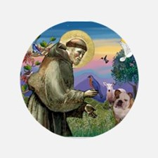 "St. Francis & English Bulldog 3.5"" Button"