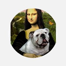 "Mona & English Bulldog 3.5"" Button"