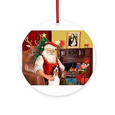 Santa's Eng Spring Span Ornament (Round)