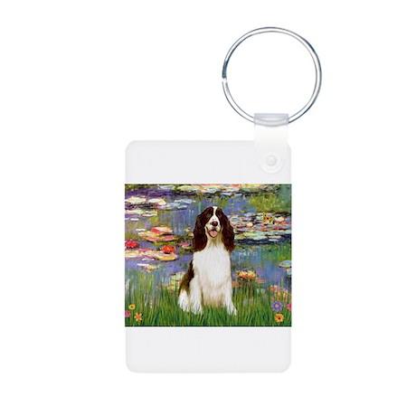 Monet's Lilies & Springer Aluminum Photo Keychain