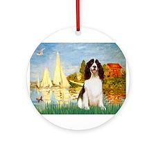 Sailboats & Springer Ornament (Round)