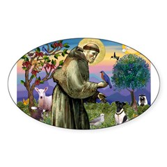 St. Francis and Smooth Fox Terrier Sticker (Oval)