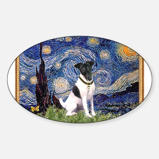 Starry Night Fox Terrier (#1) Sticker (Oval)