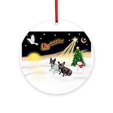 Night Flight/2 Fr Bulldogs Ornament (Round)