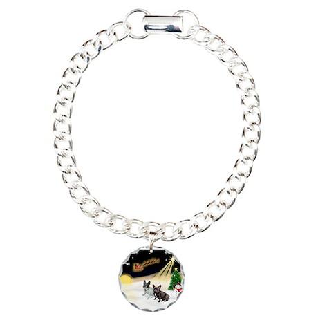 Night Flight/2 Fr Bulldogs Charm Bracelet, One Cha
