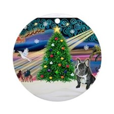 Xmas Magic/French BD (BW) Ornament (Round)