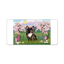Blossoms & French Bulldog Aluminum License Plate
