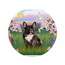 "Blossoms & French Bulldog 3.5"" Button"