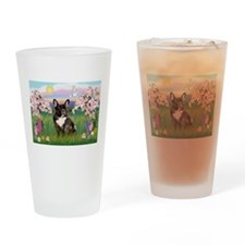 Blossoms & French Bulldog Drinking Glass