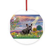 Cloud Angel / Fr Bulldog (bl Ornament (Round)