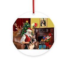 Santa's G-Shepherd #2 Ornament (Round)