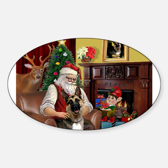 Santa's G-Shepherd #2 Sticker (Oval)