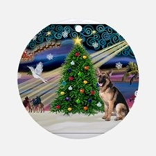 XmasMagic/G Shepherd 2 Ornament (Round)