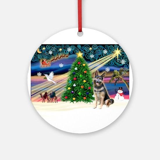 XmasMagic/Ger Shepherd (#10) Ornament (Round)