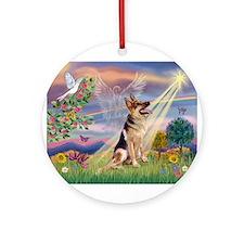 Cloud Angel & G-Shepherd #1 Ornament (Round)