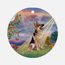 Cloud Angel & G-Shepherd #1 Ornament (Round)