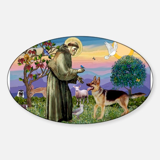 St Francis / G Shep Sticker (Oval)