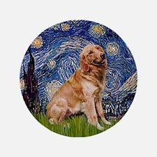 """Starry / Golden (B) 3.5"""" Button"""