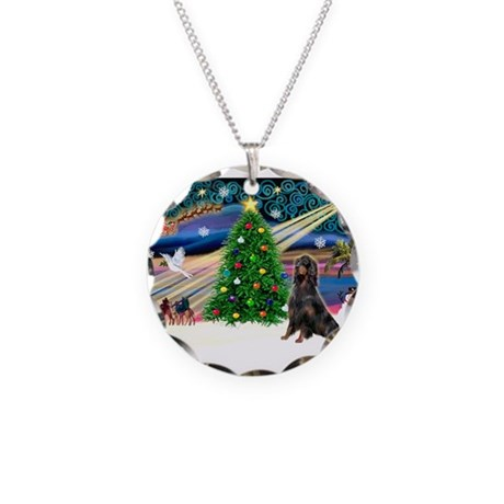Xmas Magic & Gorden Set Necklace Circle Charm