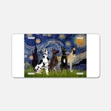 Starry Night / 4 Great Danes Aluminum License Plat